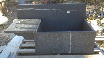 High Back Soapstone Farm Sink with Drainboard